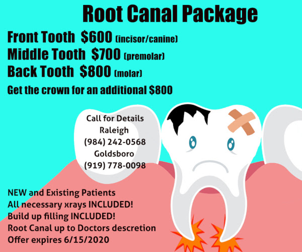 root canal therapy coupon in Raleigh
